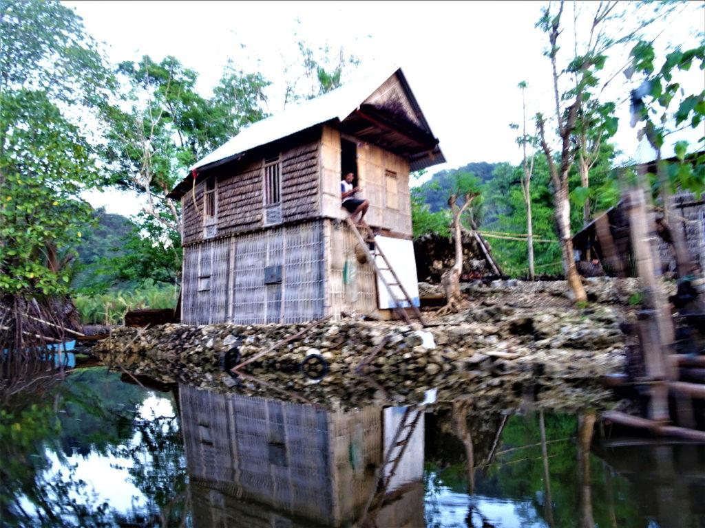 maison sur pilotis sur le trajet retour en bateau de ramang-ramang