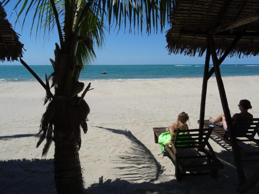 transats de l'hotel hibiscus sur la plage de mahambo