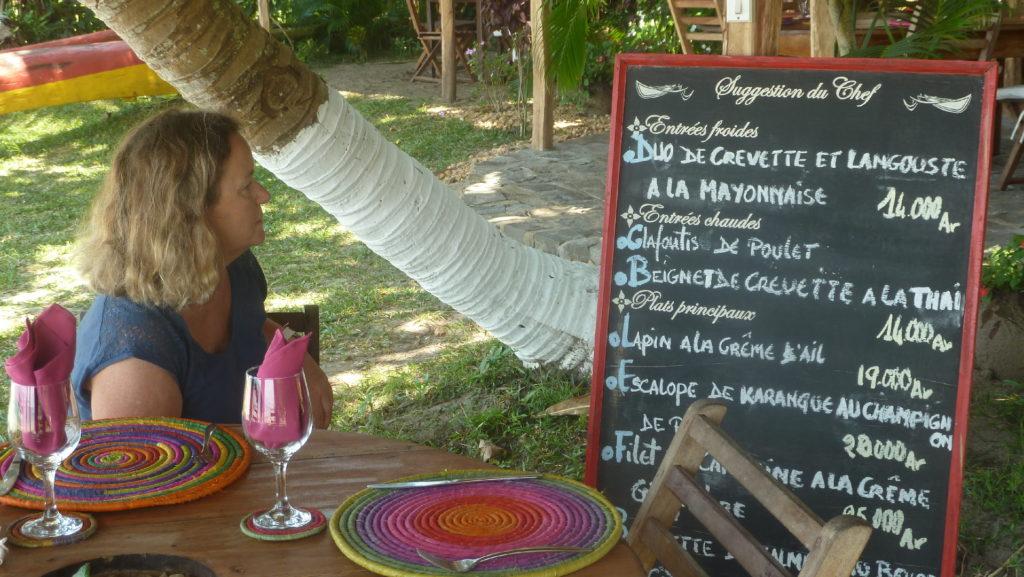 menu de l'hotel de luxe à mahambo