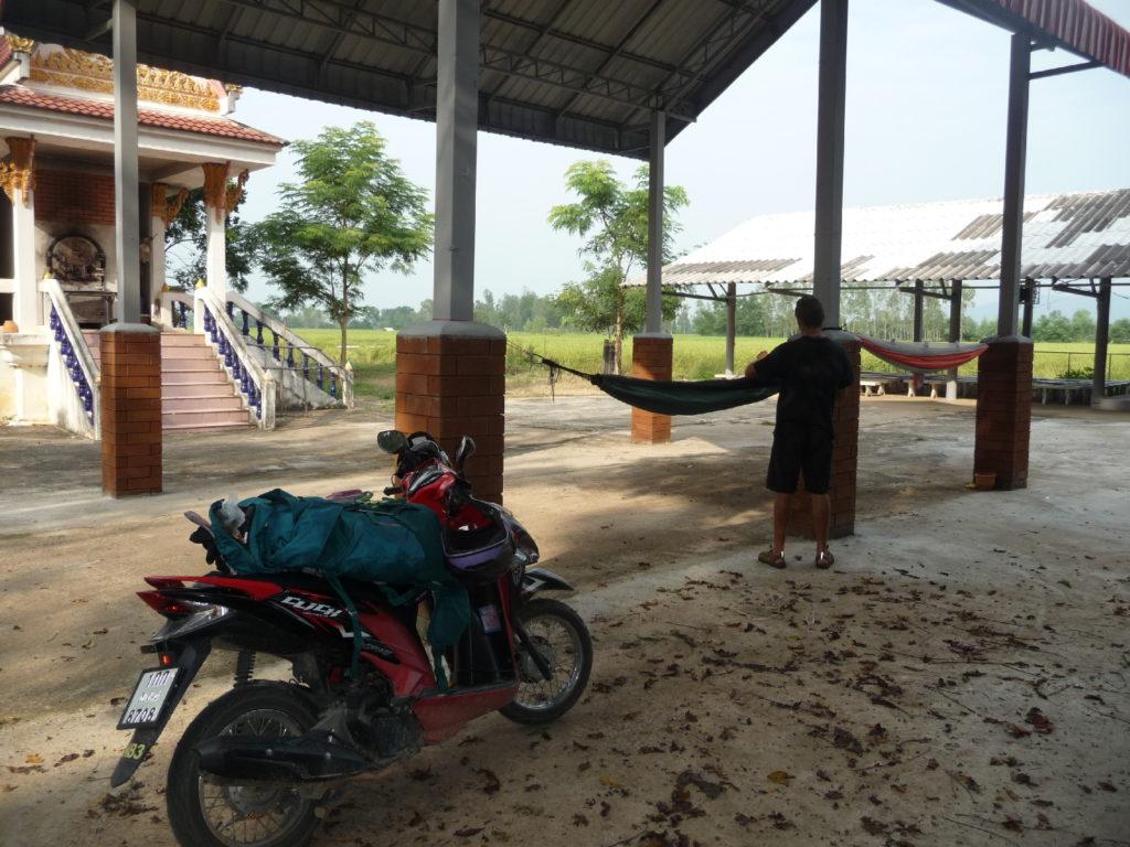 une pause sieste s'impose sur notre trajet en scooter entre chiang rai et phayao, on installe donc nos hamacs