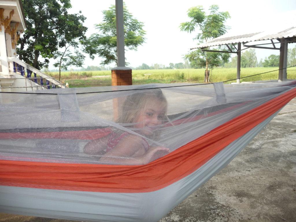 chatounette dans le hamac à moustiquaire intégrée pour une pause sieste sur le trajet en scooter entre chiang rai et phayo