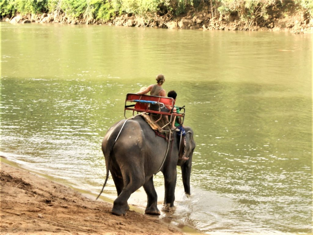 chatounette et chatoune sur le dos d'un éléphant s'apprêtant à rentrer dans la rivière kwaï près de Kra Sae Cave entre kanchanaburi et sai yok noi