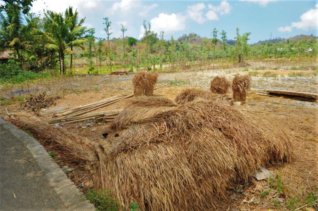 Sade, village sasak à Lombok, panneaux de paille