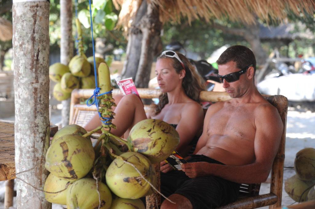 plage de Selong Belanka Beach, chaton et chatoune en pleine lecture près des noix de coco