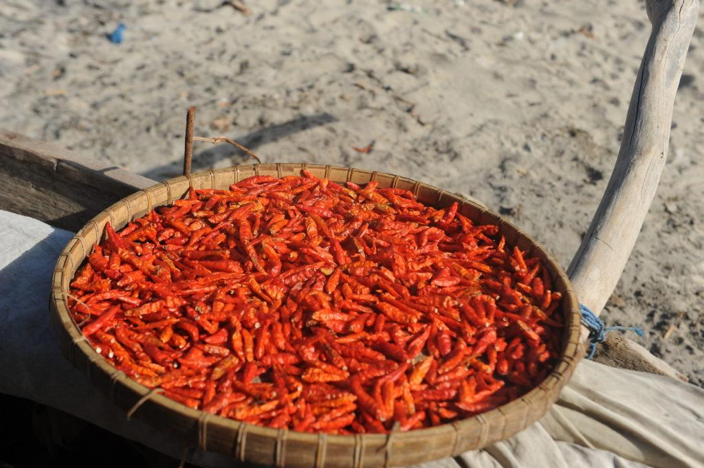 plage de Selong Belanka Beach, piments en train de sécher