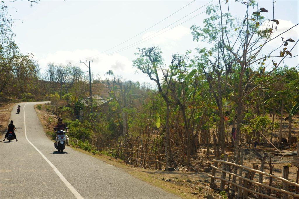 sur la route entre Kuta Lombok et Selong Belanak Beach, scooters équipés pour transporter des planches de surf