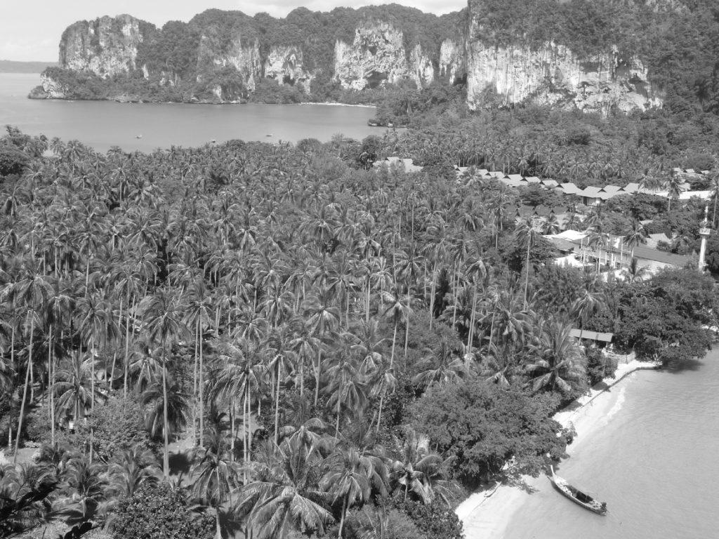 panorama en noir et blanc sur l'isthme de railay