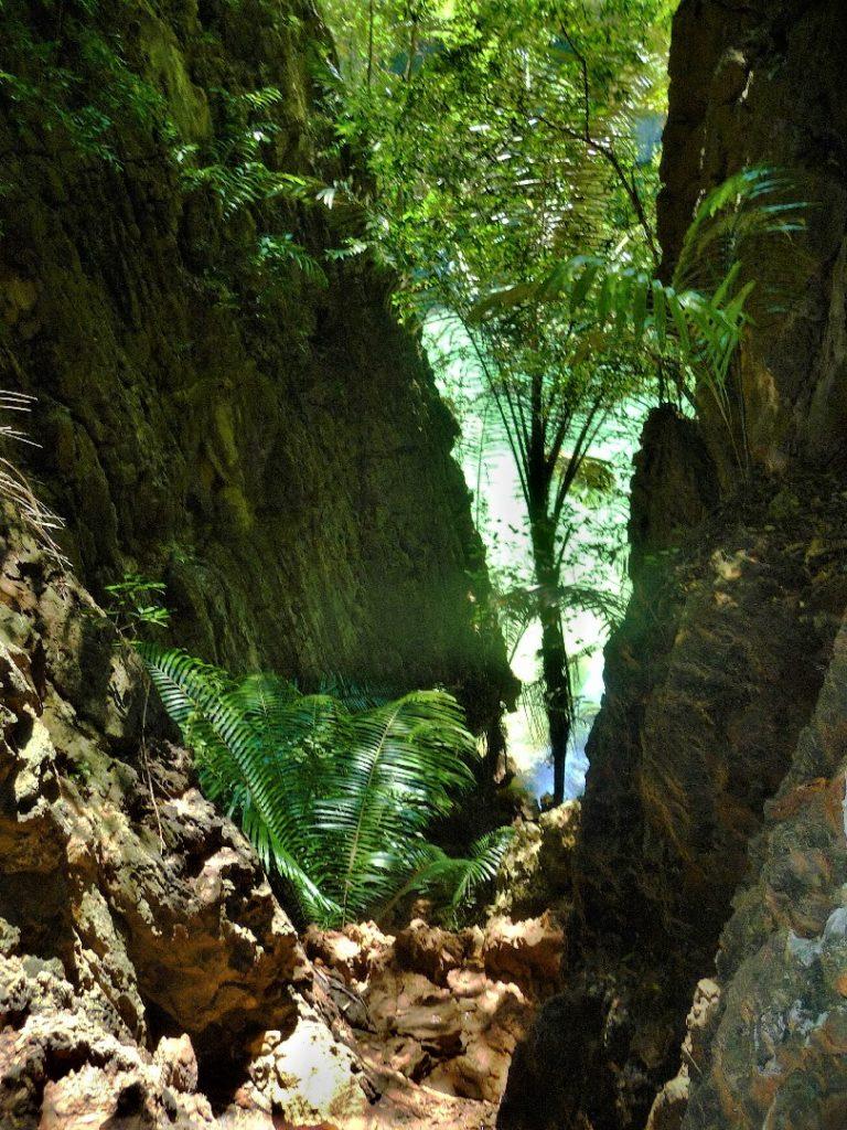descente vertigineuse pour rejoindre le lagon de railay