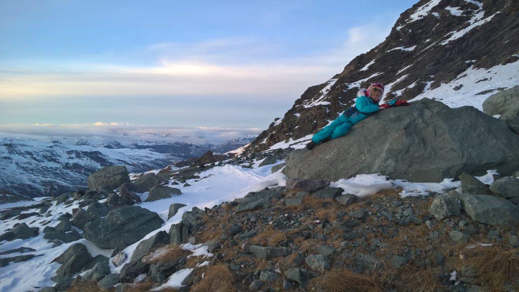 chatounette sur un rocher en montagne l'hiver à val thorens